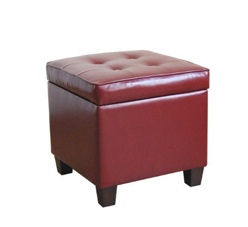 HomePop Leatherette Tufted Square Storage Ottoman with Hinged Lid, Red (Ottoman Large Red)