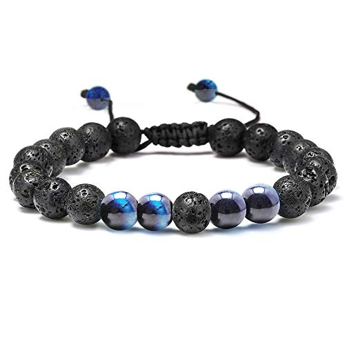 Natural Bead Bracelet, 8mm Gem Semi Precious Gemstone Round Bead Black Lava Rock and Blue Tiger Eye Beads Bracelet, Men Women Stress Relief Yoga Beads Adjustable Bracelet Energy Stone Bracelet ()