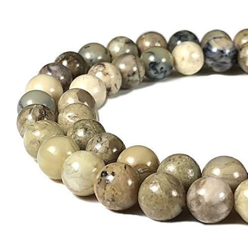 - [ABCgems] African Creamy White Opal 8mm Smooth Round Beads for Beading & Jewelry Making