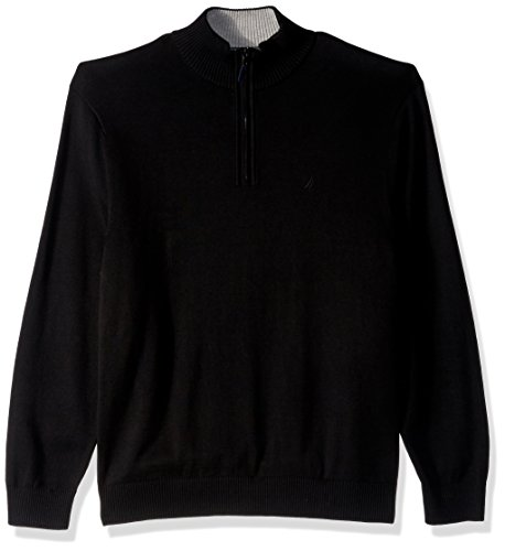 Nautica Ribbed Sweater (Nautica Men's Long Sleeve 1/4 Zip Solid Sweater with Suede Pull Detail, True Black, XX-Large)