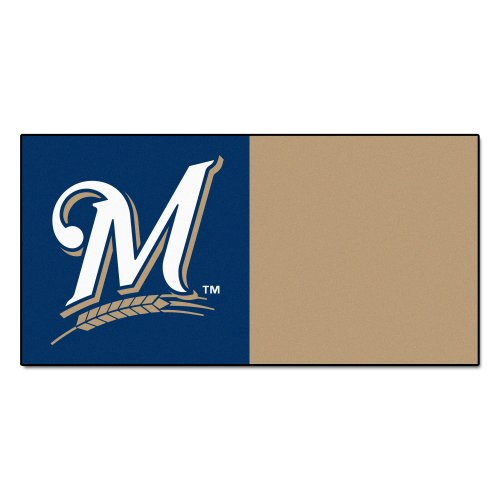 MLB Milwaukee Brewers Team Carpet Tile Flooring Squares, 20-PC Set