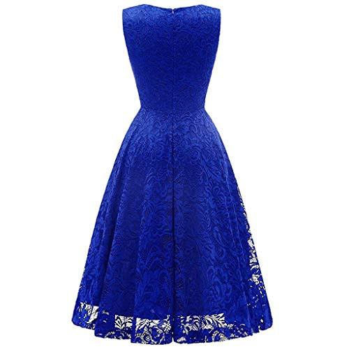 Willow S Women Fashion Lace Sleeveless Evening Pleated Party Dress Solid Elegant Cocktail Prom Ballgown Fancy Dress Blue