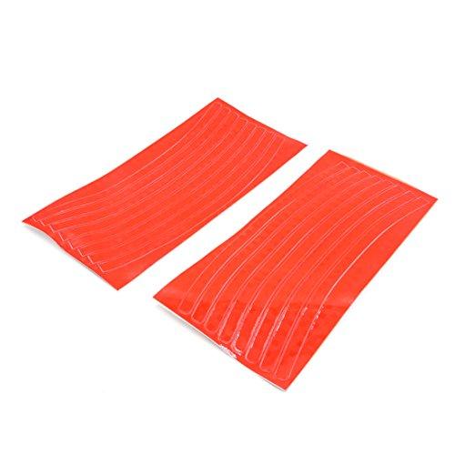 uxcell 2pcs Naranja Llanta cinta reflectante pegatinas adhesivos de rayas para moto, coche