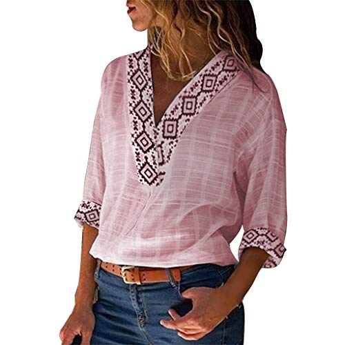 Botrong Womens Tops, V Neck Print 3/4 Sleeve Cotton Linen T-Shirt Casual Blouse Pink -