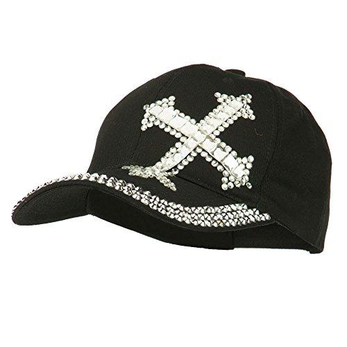 (SS/Hat Rhinestone Cross Jeweled Cap - Black OSFM)