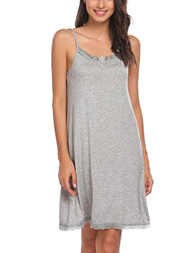 18b6c6a28b4 Ekouaer Sleepwear Women Nightgown Lace Chemise Full Slip Night Dress with  Button S-XXL