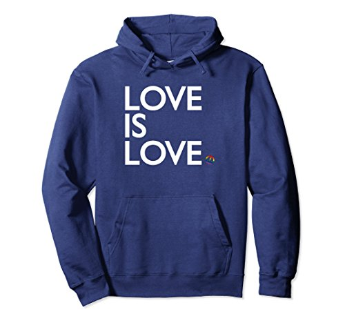 Unisex Love is Love and Peace - Gay Pride Flag LGBT Hoodie XL: Navy