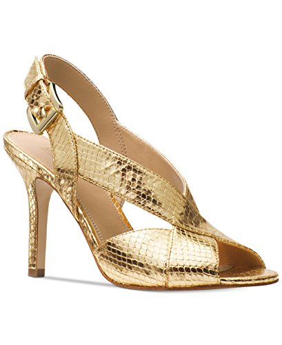 Kors Sandals Michael Toe Open (Michael Michael Kors Womens Becky Sandal Leather Open Toe, Pale Gold, Size 6.5)