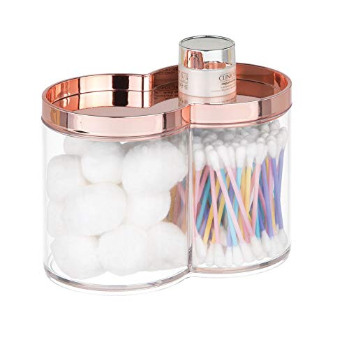 mDesign Plastic Bathroom Vanity Countertop Canister Jar with Storage Lid - Stackable - Divided, Double Compartment Organizer for Cotton Balls, Swabs, Bath Salts - Clear/Rose Gold - Ball In Earrings Vintage