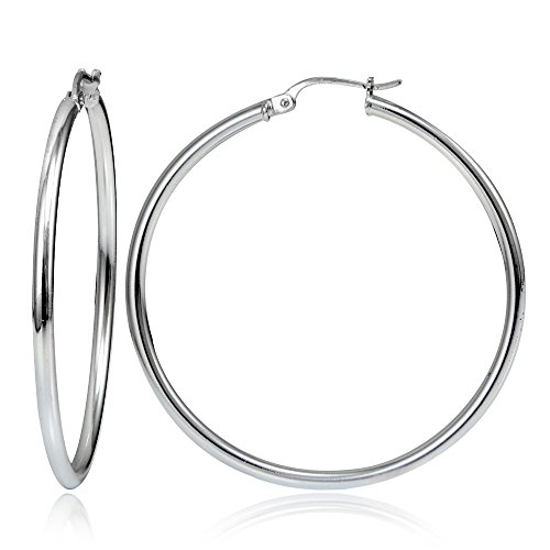- Hoops & Loops Sterling Silver 2mm High Polished Round Hoop Earrings, 50mm
