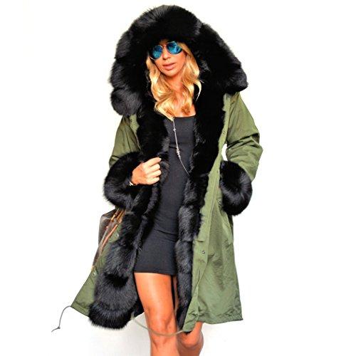 Wintermantel Damen mit Pelz, CRAVOG Warme Casual Luxus Steppjacke Parka mit Kapuze (S, Olive)