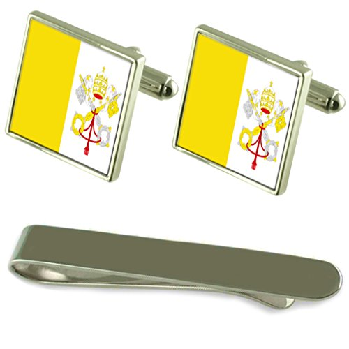 Holy See Flag Silver Cufflinks Tie Clip Engraved Gift Set by Select Gifts