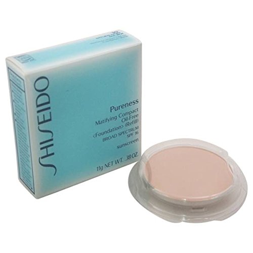 SHISEIDO PURENESS MATIFYING COMPACT OIL-FREE FOUNDATION (REFILL) COLOR - 20 LIGHT BEIGE. BROAD SPECTRUM SPF 16 SUNSCREEN. FULL SIZE 11 g/.38 OZ. BRAND NEW IN RETAIL BOX