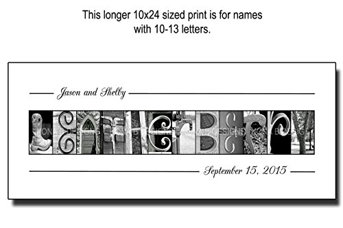 Personalized wedding gifts, Family Name Established Sign, Personalized Alphabet Photography, Custom Name Sign, Realtors gifts, UNFRAMED 10x24 - FOR NAMES WITH 10-13 LETTERS by Kona B Designs