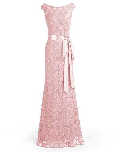 2008 Prom Dress Gown - Wedtrend Women's Retro Floral Lace Bridesmaid Dress Cap Sleeves Maxi Evening Dress WT11043Blush26W