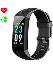 Fitness Trackers, HETP Fitness Watch Heart Rate Monitor Activity Tracker Fitness Wristband Smart Watch Blood Pressure Pedometer Waterproof IP67 with Stopwatch Sport GPS Sleep Monitor Calorie Women Men
