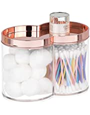 mDesign Divided Bathroom Vanity Countertop Canister Jar with Recessed Storage Lid - Stackable - Double Compartment Organizer for Q tips Cotton Balls Beauty Blenders Bath Salts - Clear/Rose Gold