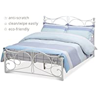 New Full Size Metal Bed Frame Cry Finial Headboard Footboard Bedroom Furniture White