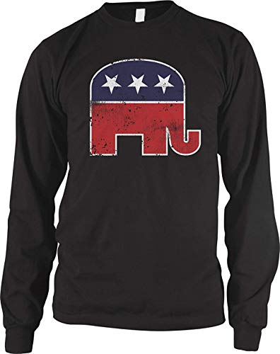 RSHSJCZZY Men's Summer Fashion Long Seleves T-Shirt Republican Elephant T-Shirt Top Black Medium