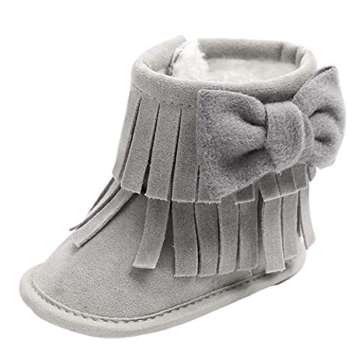 Tronet Winter Baby Shoes, Toddler Girls Keep Warm Double-Deck Non-Slip Snow Boots (Gray, 13(Age:12-18Months))