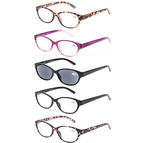 Kerecsen 5 Pack Spring Hinge Cat Eye Reading Glasses Includes Sun Readers