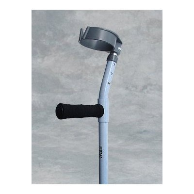 Forearm Crutch - 1 Pair Adult Full Cuff w/ Foam Grip - Epoxy-coated adult forearm crutches with 3 1/2'' (8.5 cm.) diameter full cuff featuring a V-shaped front opening for quick release. Height adjustable grip to floor from 28'' to 38'' (71 cm. to 96 cm.) an by King Of Canes