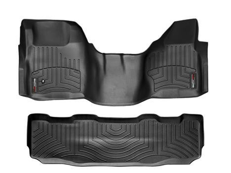 2008-2010 Ford Super Duty (F-250/F-350/F-450/F-550) SuperCrew Black Weathertech Floor Liner (Full Set: 1st & 2nd Row) [Over the Hump]
