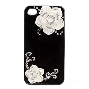 Premium Hard Case with Crystals for iPhone 4 (White Flower)