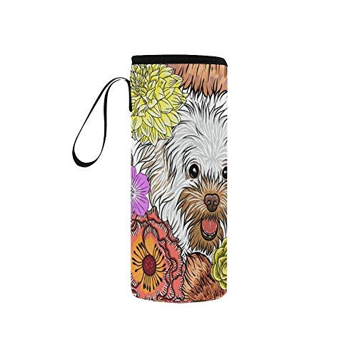 - Cute Dog Flowers Paisley Neoprene Water Bottle Sleeve Insulated Holder Bag 7.04oz-12.67oz, Puppy Animal Sport Outdoor Protable Cooler Carrier Case Pouch Cover with Handle