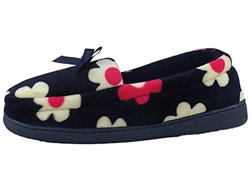 de en lumineux 3 à chers en imprimé 8 Navy éponge chaussons Mocassin Taille floral velours ARnqxBB