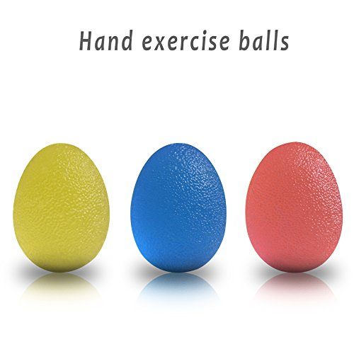 Grip Hand Exerciser Balls Relieves Stresses & Strengthen Your Fingers, Palm, Forearms, Wrist - Hand Squeeze Eggs. (Blue+ Yellow+Red)