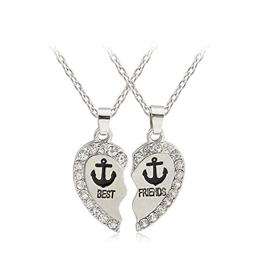 (Girl Palace Best Friends Heart Shaped BFF Diamond Break Pendent Necklaces Friendship Gift for Friends (Best Friend Anchor))