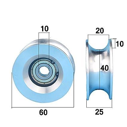 2 ruedas de aluminio de alta carga de 10 x 60 x 25 mm, 6200zz