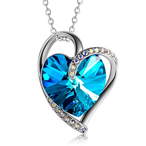 Jewelryland Love Double Hearts Blue Swarovski Crystal Pendant Necklace Birthday