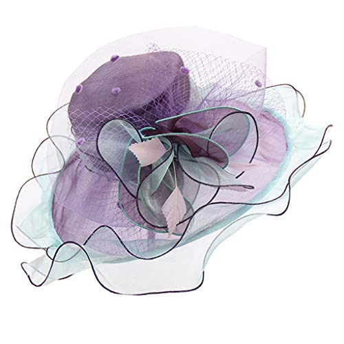 Funeral Standing Spray - Qingell Women Hat for a Queen Dome Floral Spray Feathers Derby Floppy Dress Wide Hat Top Hat Purple