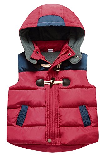 - Happy Cherry Toddler Boys Padded Vest Thermal Warm Puffer Cotton Hand Pockets Horn Buckles Unisex Kids Sleeveless Coat 5-6T Red