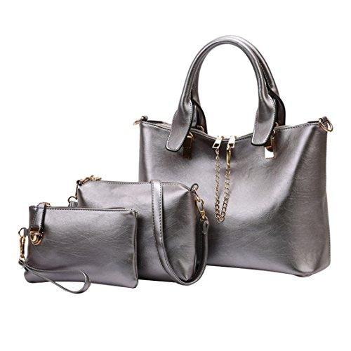Piece Set Shoulder Women Handbag Bag Silver Purse 3 for Work dYY7r0wx