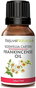 Frankincense Essential Oil by RejuveNaturals, 10 ml | 100% Pure Boswellia carterii — No Carriers, Pesticides, or GMOs | Antiseptic / Astringent for Massage, Minor Wounds, & Skin Care