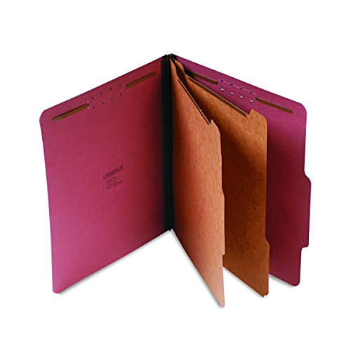 Universal Pressboard Classification Folder, Letter, 6-Section, Red, 10/Box Letter Six Section