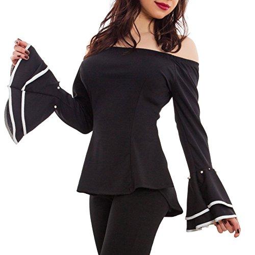 Toocool - Blusa donna maglia maniche campana bicolore scollo barchetta sexy nuovo AS-1736 Nero