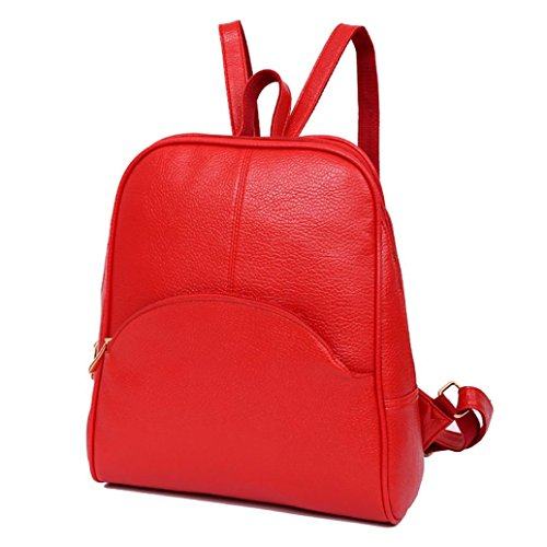 Black Women Fashion Casual Backbags Teenagers 2018 Style Bag Backpack Soft Bag Preppy Backpack Bag Leather Bellelove Red 5SnZwIpqn