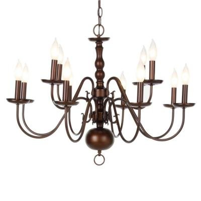 """Woodford Collection 12-light H 22.46""""h x 30.81""""w Antique Bronze - Woodford Collection 12-light H 22.46"""
