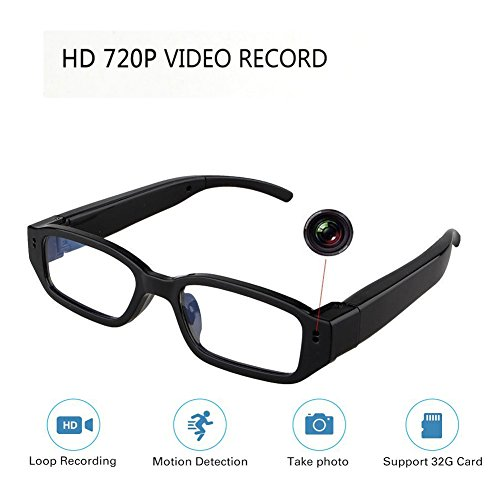 - HD Hidden Glasses Camera Mini DVR Surveillance Eyewear Spy Camera - Video Loop Recording - Snapshot - Mini Digital Camera-USB Charger Support 32GB