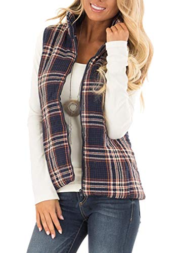 - TECREW Women's Plaid Zip Up Stand Collar Lightweight Warm Quilted Puffer Jacket Vest with Side Pockets