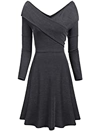 Womens V Neck Long Sleeve Knitted Wrap Midi Dress Slim Fit Swing Sweater Dress