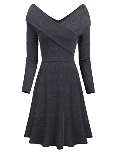 Cashmere Long Sleeve Wrap (LuckyMore Womens V Neck Long Sleeve Knitted Wrap Midi Dress Slim Fit Swing Sweater Dress (XL, Dark Grey))