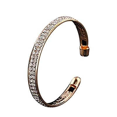 New Susenstone Womens Fashion Gold Crystal Rhinestone Open Bangle Cuff Bracelet