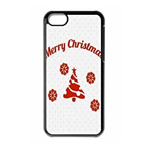 iPhone 5C Case,Simple Merry Christmas Message Hard Shell Back Case for Black iPhone 5C Okaycosama375926