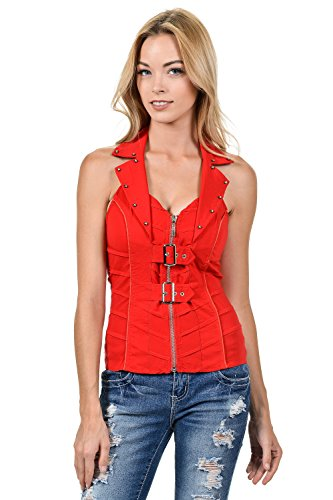 Sexy Front Two Belt With Zip Up Rhinestone Spandex Vest Halter Top (Medium, (Sexy Suede Rhinestones)