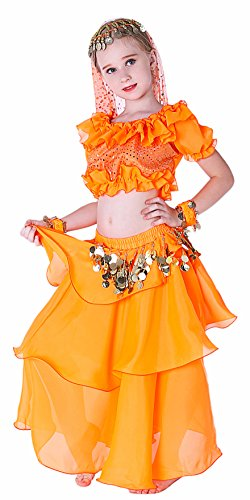 Kids Genie Costume Girls Arab Princess Belly Dance School Outfits 4T 6 7 8 10 12 14 16 M Orange